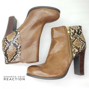 NWOT Kenneth Cole Brown Snakeskin Booties Ankle